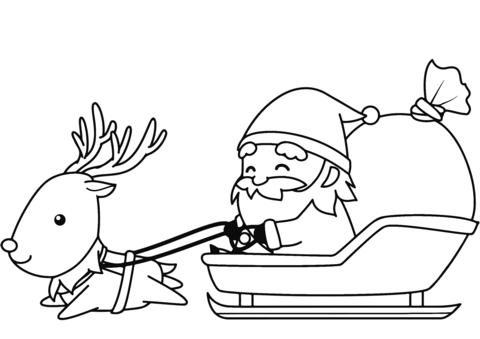 santa-in-sleigh-with-reindeer-coloring-page